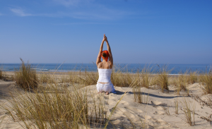 Yoga sur la plage du touquet